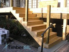 Wonderful Exterior wood staircase, construct with or with out handrail – – # outside kitchen Deck Stair Railing, Wood Staircase, Garden Stairs, Duplex House Design, Wooden Garden, Decorating Coffee Tables, Wood Doors, Bird Houses, Garden Design