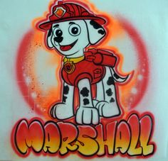 Personalized Custom Airbrushed Paw Patrol Inspired T-Shirt, Airbrushed Marshall T-shirt, The Perfect Shirt for You or Your Child Graffiti, Airbrush T Shirts, Airbrush Designs, Custom Airbrushing, Paw Patrol Party, Boy Room, Tattos, Screen Printing, Birthday Ideas