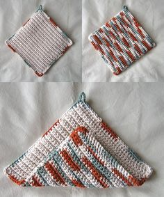 This 8.5 x 8.5 doubled potholder is one of the free patterns at Mom's Crochet, click the picture to see the FREE version. You can also buy the PDF version for $1.50