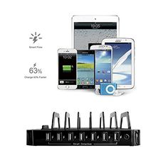 Juicy Power 7-Port USB Charging Station Black 2.4A Output EVERY Port + Free 5-pack 25 cm (~10 in) Micro USB Charging Cable  Clean up your workspace and power all your devices with one sleek, desktop design!      SmartFlow-    Intelligently recognizes the unique needs of each device and adjusts power output accordingly. Your devices get the fastest, most efficient, and safest charge possible. The technology is essential with the amount of modern devices that have unique circuitry.    ..