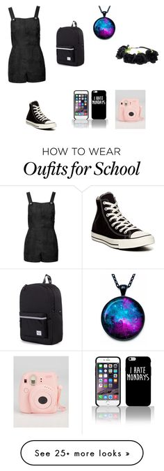 """School day"" by dremy01 on Polyvore featuring Topshop, Converse, Herschel Supply Co., women's clothing, women's fashion, women, female, woman, misses and juniors"