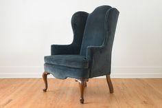 Blue Velvet Wing Chair   Homestead Seattle