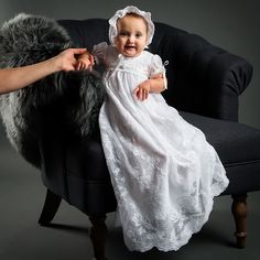 Louisa White Christening Gown & Bonnet, Beautiful Baptism Outfits
