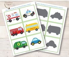 FREE on the road shadow match - Great for use with a Community Helpers unit. Which Community Helper Drives the vehicle. Preschool Learning, Classroom Activities, Toddler Activities, Preschool Activities, Teaching, Toddler Fun, Educational Activities, Montessori, Transportation Activities
