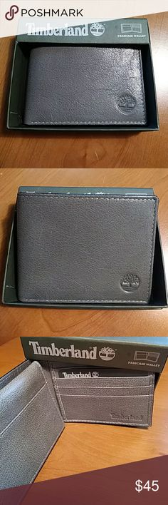 """Timberland Mens Wallet Mens Timberland Bi-fold wallet. Grey in color. Genuine leather. Has billfold pocket, credit card slots and a interior flap over the transparent ID window. Measures 3.5"""" x 4 1/4"""". Great gift for Father's Day!! Comes in Timberland gift box! Timberland Accessories"""