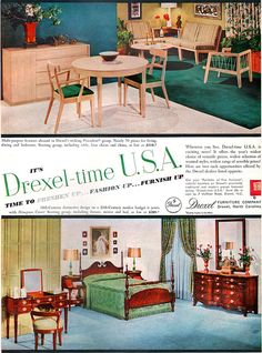 DREXEL 1954 Precedent - EDWARD WORMLEY + Hampton Court - American Home Oct 1954