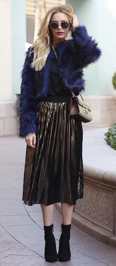 fall fashion trends / top + bag + jacket + midi skirt + boots