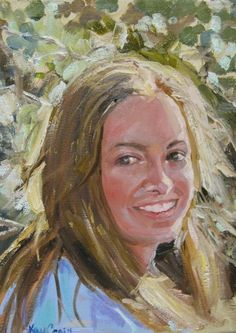 Portrait of Tricia oil  on canvas 12x9 Private Collection By Missouri Artist Kay Crain