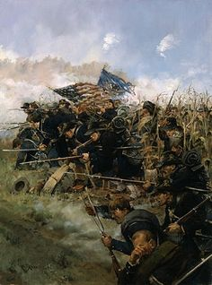 """""""Through the Cornfield"""" by Keith Rocco....elements of the Iron Brigade struggle through Miller's Cornfield at the North end of the Antietam battlefield."""