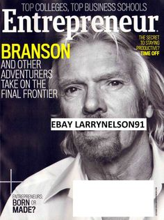 ENTREPRENEUR MAGAZINE OCTOBER 2014 RICHARD BRANSON SECRET TO STAYING PRODUCTIVE