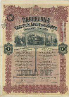 Barcelona Traction, Light and Power Comp. Ltd - #scripomarket #scriposigns #scripofilia #scripophily #finanza #finance #collezionismo #collectibles #arte #art #scripoart #scripoarte #borsa #stock #azioni #bonds #obbligazioni