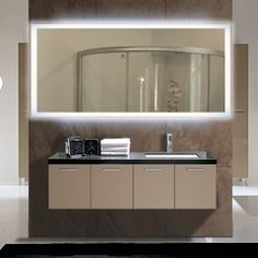 Rectangle Bathroom Mirror with LED Backlight  Best Bathroom Lighting Designs for home remodeling. Stylish vanity light ideas for unique bathoom decor!