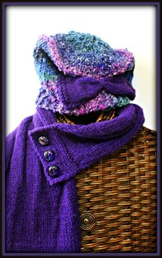 Make a statement in this striking hand knitted purple scarf and coordinating Yarns by HPF original design.