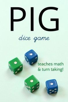 Dice game Fun and simple Pig dice game teaches probabliity<br> Play the pig dice game! 6 different ways to enjoy this simple and fun game of jeopardy that teaches math, probability and rewards turn taking! Fun Math Games, Dice Games, Activity Games, Activities For Kids, Probability Games, Multiplication, Fun Classroom Games, Best Fun Games, Indoor Activities