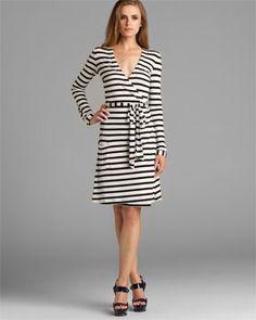 Pink Tartan Black & White Stripe Wrap Dress
