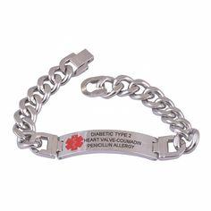 316L Custom Engraved Bracelet Medical Alert ID Link Chain Bracelet Jewelry Free Engraved Infomation Quality Men Jewelry www.bernysjewels.com #bernysjewels #jewels #jewelry #nice #bags