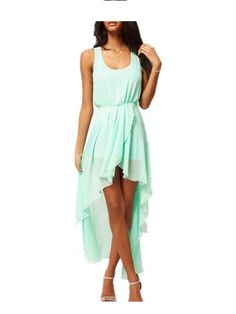 Minty green asymmetrical chiffon dress. Love the color, and love that this dress is equal parts comfy and sexy.