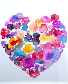 Floral Heart Abstract Watercolor