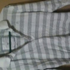 Grey and white striped collered shirt 3/4 sleeves Duck Head Tops Button Down Shirts