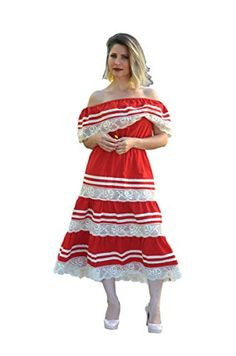 7e8671b61a4 Gv Gloria Vidal Women s Off Shoulder Mexican Peasant Boho Trim Red XL