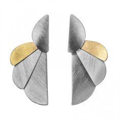 Pendientes Plata y Oro Ales 42mm