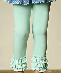 Look what I found on #zulily! Teal Lacey Ruffled Leggings - Toddler & Girls #zulilyfinds