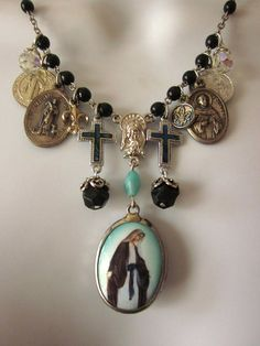 Vintage Religious Medal Charm Necklace Statement by JeepersKeepers, $65.00