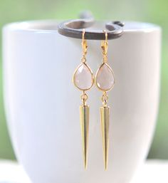 Gold Spike Drop Earrings with Champagne Jewels in Gold.