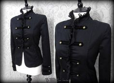 Victorian Gothic Black High Neck Frilly Lace Jacket S 8 10 Steampunk Military | THE WILTED ROSE GARDEN