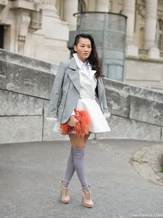 Tailored White + Greys And Flirty Pink + Peach |  Street Style Paris #fashion