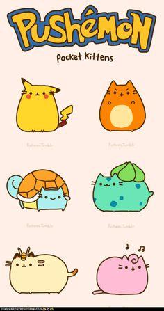 Pushemon, pocket kittens, cute, text, Pusheen, Pikachu, Charmander, Squirtle, Bulbasaur, Meowth, Jigglypuff, gif, Pokemon, crossover; Pusheen