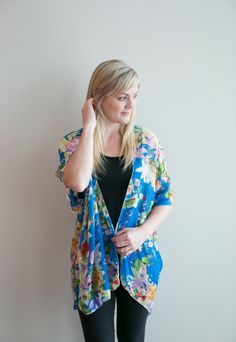 Chiffon Cake Kimono – bright blue floral (ships in 1 to 2 weeks) $68.00  Our new pretty kimono prints will make you swoon! Feel so feminine and put together with this simple piece. We wear ours with jeans or leggings, a tank top and have the best spring/summer outfit in a snap! Are you going away or needing something for a summer wedding? This is the thing for you! It packs so small and will complete any outfit or act as a sweet swimsuit cover up. Buttercream Clothing Chiffon Cake, Swimsuit Cover, We Wear, Summer Wedding, Summer Outfits, Kimono Top, How To Make, How To Wear, Cover Up