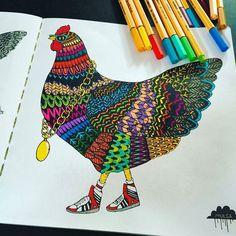 Cherry the Chicken from my Magical Colouring Book beautifully coloured by @hennyspicz.  For all colouring books purchased from my online shop I now write a little poem and sign them.  Here's the poem about Cherry  An Ode to Cherry the Chicken  Cherry had an absence of teeth in her beak Hence the saying as rare as hens teeth  She was a special old chook with a distinctive style And she loved strutting her stuff and getting all wild  She was the queen of the chooks at the free range farm…