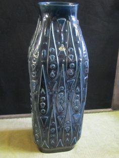 Große Keramik Vase/Bodenvase,Blau m. Ornamentmuster,Super Teil  | eBay