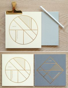 gold foil notebooks.
