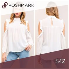 PREORDER mock neck shoulder detail woven top! Solid crinkled open-shoulder top featuring ruffled mock neck and shoulder detail. Elasticized cuffs. Back keyhole with button closure. Non-sheer. Woven. Lightweight.   100%RAYON Tops