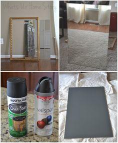 Whats Ur Home Story: DIY chalkboard tutorial, chalkboard from mirror Chalkboard Mirror, Chalkboard Spray Paint, Chalkboard Wall Bedroom, Make A Chalkboard, Chalkboard Drawings, Magnetic Chalkboard, Chalkboard Lettering, Chalkboard Ideas, Chalk Paint