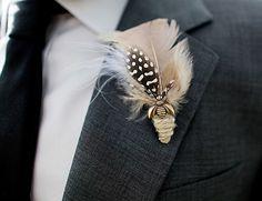 Saunoris Boutonniere @Pomp&Plumage; $12 #wedding #feathers #boutonniere #cargoh