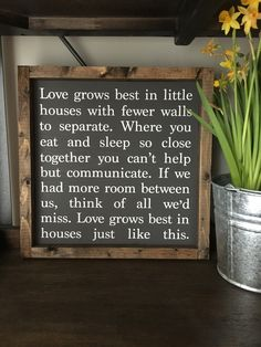 The White Farmhouse Blog home tour. ❤️ Love this James & Alice sign. https://www.etsy.com/listing/269810114/love-grows-best-in-little-houses-approx?ref=shop_home_listings