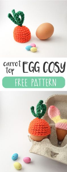 Fun project: carrot top egg cosy crochet pattern A really quick and easy (and FREE) crochet pattern for a carrot top egg cosy. Great pattern for a beginner and a cute addition to the Easter table.
