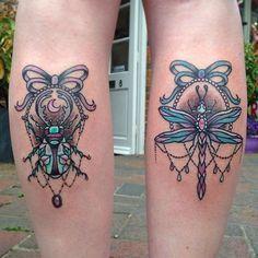 Couple of calfs from today ✨✨ #tattoo #tattooart #tattoos #beetle #beetletattoo #dragonfly #dragonflytattoo #bows #gems #pearls #tat #ink #inked #tattooed #tattooist #art #design #bodyart #tatts #tats #newbury #newburytattoos #neotrad #wings #ribbon #crecentmoon #witchy #moontattoo #colourtattoo