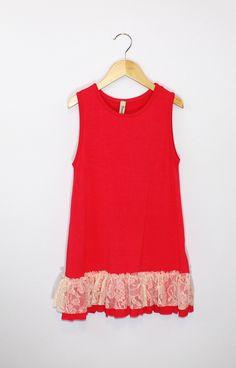 Girls Coral Lace Trim Tunic by Pomelo - Kids Cloth Box