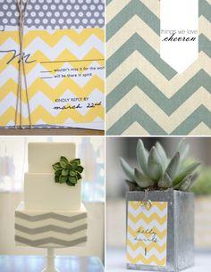 chevron wedding cake and wedding invitations