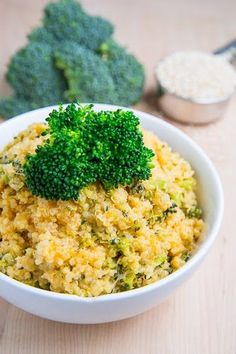 Cheesy Broccoli Quinoa  A healthier take on broccoli casserole.