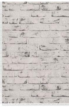 Papier peint briques blanches et grises