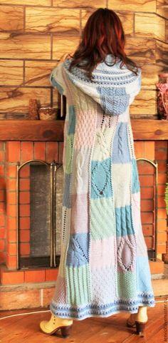 Верхняя одежда ручной работы. Пальто вязаное в стиле пэчворк. Галинка-Маринка. Ярмарка Мастеров. Пальто вязаное