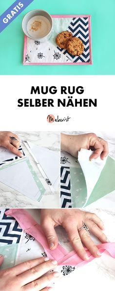Mug Rug selber nähen - gratis Nähanleitung via Makerist.de #mugrug #tassenteppich #nähenmitmakerist #nähen #nähanleitung  #nähenmachtglücklich #nähenistwiezaubernkönnen #nähenisttoll #sewing #sew #sewingproject #freebie #gratisanleitung #gratis