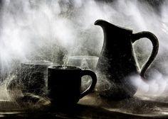 Blizzard   light painting, long exposure, fine art, still life, cup, kitchen, milk, snowstorm