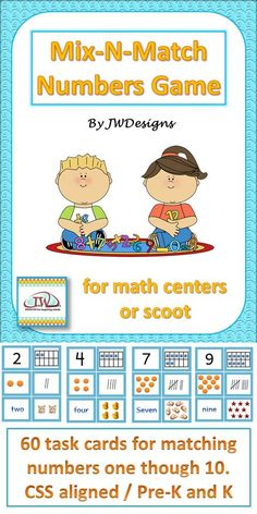 This math game involves matching up the different forms commonly used to represent the numbers 1 – 10.  Each number has six task cards: The actual number, a ten fame, dots, hash marks, the word form of the number, and clip art representing the number.  It's a great game to use during math centers or to play scoot.  A tally sheet is included.  Buy once and they can be reused over and over.  This set aligns with Common Core State Standards K.CC.5, K.CC.7, and K.MD.3
