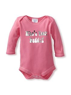 """50% OFF Haute Stuff Baby """"Who's Your Daddy"""" Bodysuit (Bubblegum with Silver Foil Text)"""